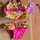 Girl 12 Months Joe Boxer Two Piece Ruffle Swimsuit Yellow & Pink NEW with Tags