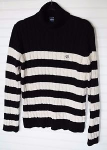 Chaps Ralph Lauren Turtle Neck Long Sleeve Sweater Stripe Women's XL Cable Knit