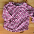 Arizona Girl 18 Month Red & Pink Plaid Long Sleeved 100% Cotton Button Shirt
