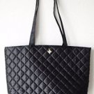 Lancome Quilted Black Purse Handbag Shopper Tote Weekend Bag Purple Lining