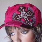 Leader Pink Embellished Adjustable Military Baseball Cap Hat Women's