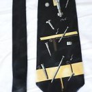 A Rogers Nails Nuts Bolts Silky Neck Tie Black and Gold Necktie