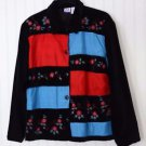 JM Collection Women's Large Embroidered, Lined Button Front Jacket Long Sleeve