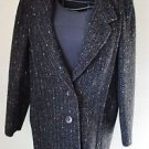 VTG New York Girl Black Tweed Button Up Pea Coat Womens 10 Lined USA Union Made