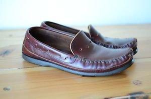 Minnetonka Leather Moccasin Men's Loafer Slip On Shoe Slipper Hard Sole 9.5 - 10