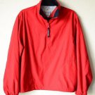 Tommy Hilfiger Golf Mens Large Red Windbreaker Jacket Pullover Half Zip Mockneck