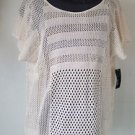 a.n.a XL Women's Beige Open Acrylic Knit Sweater Top Short Sleeved Pullover NWT