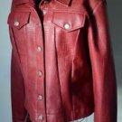 VTG B B Dakota Large Maroon Red Womens Poly Vinyl Jacket Snake Print Button Up