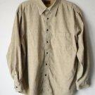St. Johns Bay Mens Button Front Long Sleeve Shirt Light Corduroy Tan L-XL EUC
