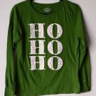"Old Navy Christmas Holiday ""Ho Ho Ho"" Pullover Long Sleeved Green Shirt Medium"