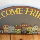 Home Decor Wood Painted Sign Wall Hanging, Half Moon Shaped, Welcome Friends