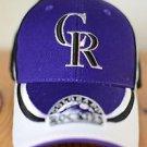 Colorado Rockies Baseball Hat Adjustable Velcro Purple Black White Fan Favorite