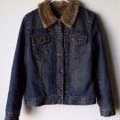 Vintage Gap Denim Trucker Jean Jacket Coat Women's Med Faux Fur Lining & Collar