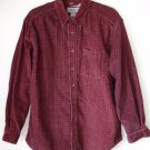 Eddie Bauer Maroon Long Sleeve Plaid Button Up Fine Corduroy Heavy Shirt M Med