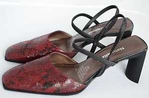Naturalizer 7.5 M Leather Maroon Mule Strappy Med Heel Dress Shoe Square Toe