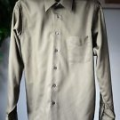 Geoffrey Beene Dark Green Sateen Dress Shirt Wrinkle Free 34/35 Medium 15 1/2