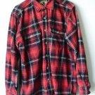 Field & Stream Mens Button Up Red Plaid Heavy Flannel Grunge Work Shirt L - Tall