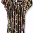 USA Carol Rose Medium Pullover Stretch Top Blouse Shirt Short Sleeved Greens EUC