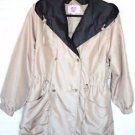 Keren Hart SMALL Hooded Jacket Drawstring Waist Button Front Lightweight Coat