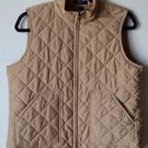 Ralph Lauren Chaps Quilted Zip Up Mock Neck Vest Petite LG Tan Blue Label P Lg
