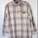 Dickies Long Sleeved Button Front Cream Tan Plaid Shirt L 42 - 44