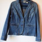 St. Johns Bay Womens Trucker Shaped Stretch Button Up Denim Blue Jean Jacket XL