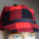 Vintage Red Plaid Scottish Hunting Hat w Brim & Pom Pom Quilted Lining Sz Small