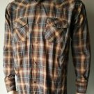 BJR Ranch Wear Brown Plaid Snap Front Western Cowboy Shirt Long Sleeved L