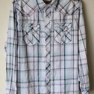 BKE Buckle Cowboy Western Rodeo Shirt Medium Pearl Snap Front White Blue Plaid