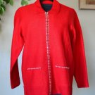 The Quaker Factory Red XS Long Sleeve Zip Up Wool Sweater Cardigan Rhinestones