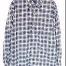 Mens Lands End Plaid Large Blue Long Sleeve Button Up Shirt Chest Pocket Flannel
