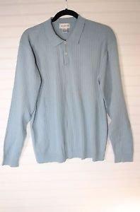 Alfani Polo Longsleeve Lightweight Sweater Baby Blue M Medium  100% Cotton