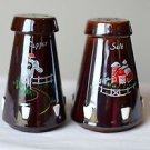 Brown Farm & Country Style Hand Made Hand Painted Salt & Pepper Shaker w/ Cork