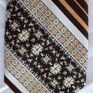 """VTG Brittania 1970's Striped Clip On Tie Cream Brown Gold Stripe Classic 3.75"""""""