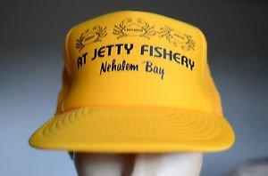 At Jetty Fishery Nehalem Bay Vintage Yellow w/ Foam Snap Back Hat Crab Fish VTG