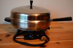 """VTG Farberware 12"""" USA Made Electric Stainless Steel Skillet Fry Pan Model 310 A"""