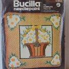 "Vintage Bucilla Needle Point Kit 14"" Daisy Basket Flower Complete Pillow Kit"