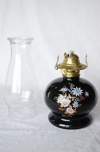 Floral Black Oil Lamp w/ Blue Flowers, Gold Leaves, Chimney EUC