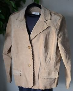 Coldwater Creek Leather Jacket Long Sleeve Button Front, Pockets, Lined, PL