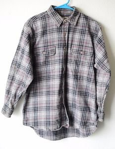 Field & Stream Mens Button Up Gray Plaid Heavy Flannel Grunge Work Shirt Large