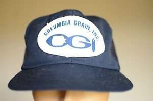 Columbia Grain Blue Mesh Snap Back Adjustable Baseball Trucker Hat Cap