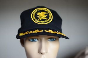 NRA Patriot Black & Gold Vintage Mesh Snap Back Hat Made Orange City, IA USA