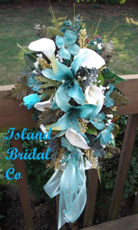 Silk Flower Wedding Bridal Bouquet Set Turquoise White Lilies 15 pc
