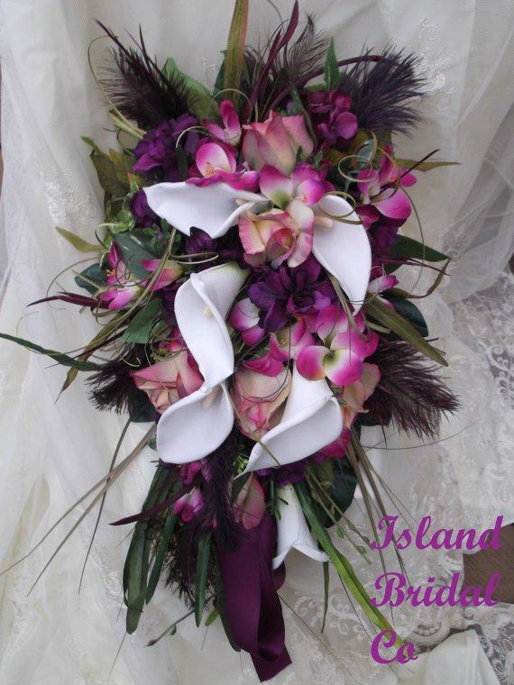 Silk Flower Wedding Bouquet Set Sangria Wine 12 pc
