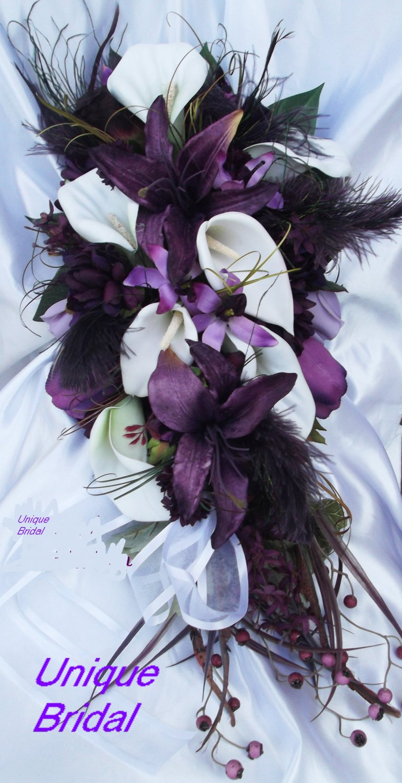 Silk Flower Wedding Bouquet Set, Deep Plum White Lilies Feathers 12 pc