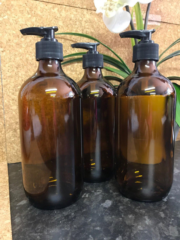 500ml Amber Glass Pump