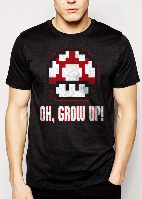 Best Buy OH GROW UP  nintendo size video game mushroom Men Adult T-Shirt Sz S-2XL