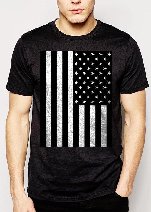 Best Buy American Flag Black and White Men Adult T-Shirt Sz S-2XL