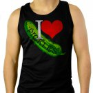 I LOVE PICKLES college funny fried dill sweet bread & butter Men Black Tank Top Sleeveless