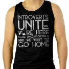 Introverts Unite We're Here We're Uncomfortable Men Black Tank Top Sleeveless